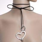 """Чокер """"Сердце"""" дуэт, цвет чернёное серебро 80 см (трансформер)"""