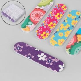 Пилка наждачная для ногтей, овальная, абразивность 180/180, цвета МИКС Ош