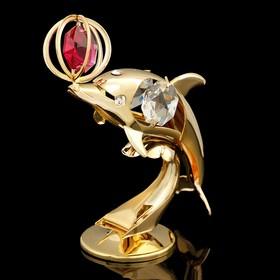 Сувенир «Дельфин», 3×5×8,5 см, с кристаллами Сваровски, 8,5 см Ош