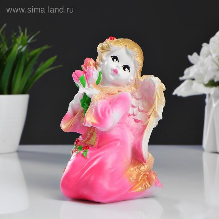 """Сувенир """"Ангел с цветами"""", цвет розовый"""