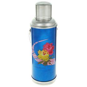 Термос 1200 мл «Цветы на дуге», с ручкой, 1 кружка, синий Ош