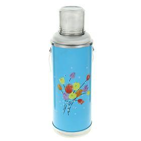 Термос 1200 мл «Тюльпаны», с ручкой, 1 кружка, голубой  840912 Ош