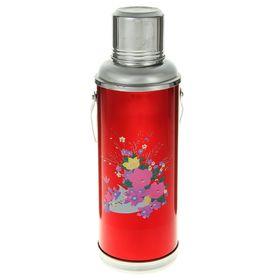 Термос 1200 мл «Букет полевых цветов», с ручкой, 1 кружка, красный Ош