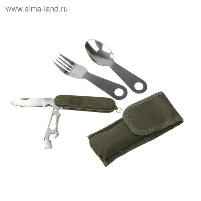 Набор туриста 3в1 в чехле: вилка, ложка, нож с дополнительными функциями