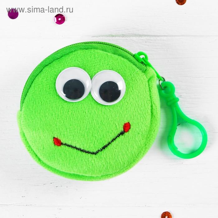 """Мягкий кошелёк """"Глазастый лягушонок"""" на карабине, цвет зелёный"""