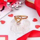 "Кольцо ""Сердце"", цвет золото, размер 17"