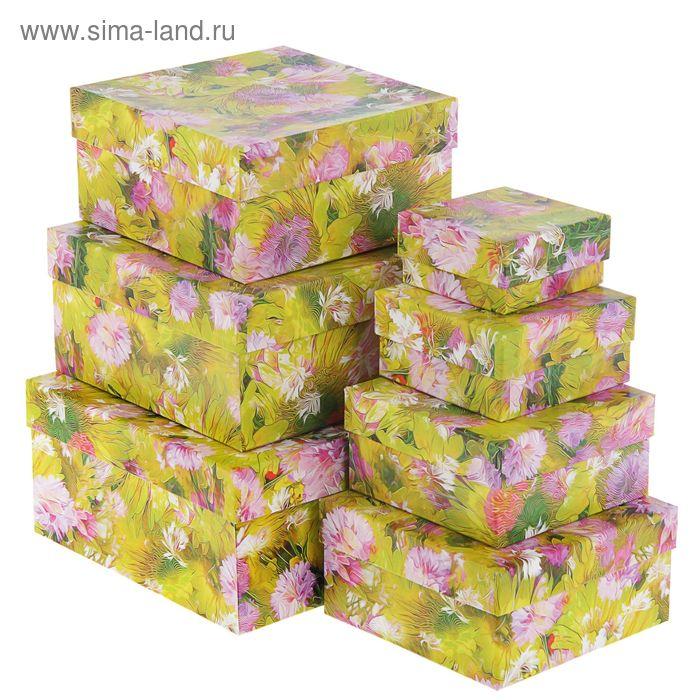 """Набор коробок 7в1 """"Цветы зеленые"""" 20 х 20 х 10 - 7 х 7 х 4 см"""