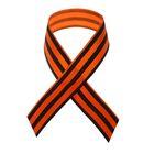 Лента атласная, 40 см, цвет оранжево-чёрный