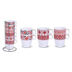 Набор чайных кружек Bohmann, 275 мл, фарфор, 7 предметов, хромированная подставка