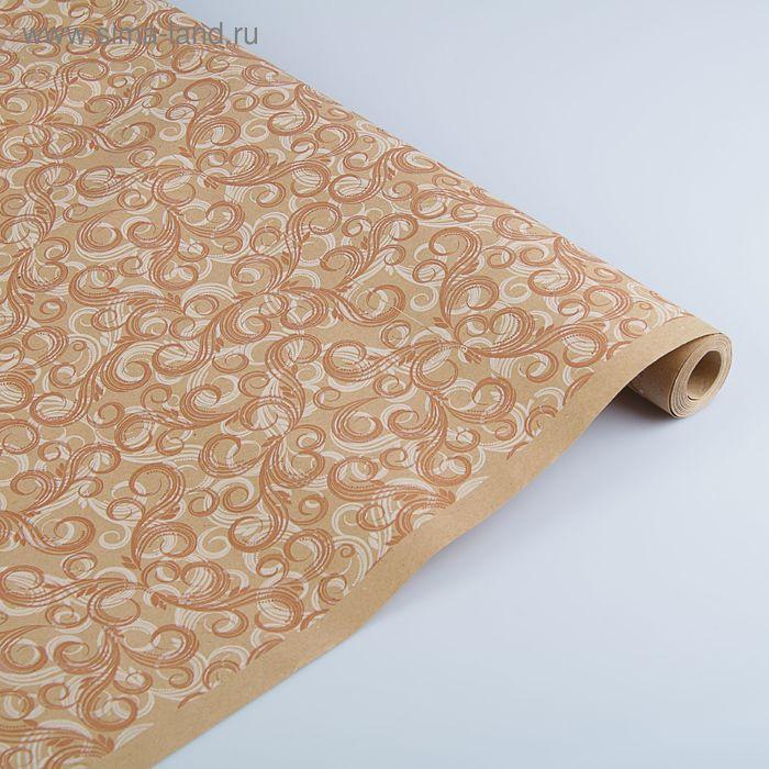 """Бумага упаковочная крафт """"Феникс"""" бело-коричневая на коричневом, 70 см х 8,5 м"""