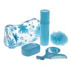 Набор дорожный 5 предметов (мочалка, футляр для щетки, мыльница, расчёска, зеркало), цвет МИКС