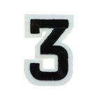 """Термоаппликация """"Цифра """"3"""", 4,9*3,4см, цвет чёрно-белый"""
