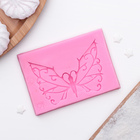 """Молд 8,6х6х0,7 см """"Кружевная бабочка"""", цвет розовый"""