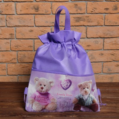 """Мешок для обуви на стяжке шнурком """"Мишутка"""", 1 отдел, цвет фиолетовый"""