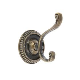 Крючок мебельный KM212AB, двухрожковый, цвет бронза