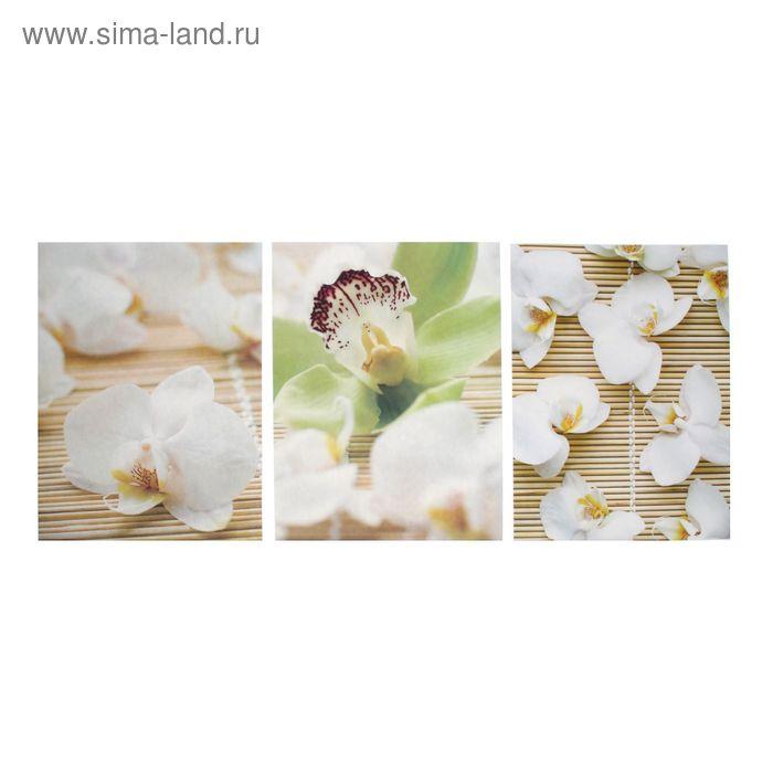 """Наклейка интерьерная в наборе 3 шт """"Белая орхидея"""" 44х31 см"""