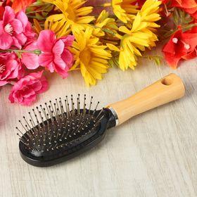 Расчёска массажная, с деревянной ручкой, овальная, цвет чёрный