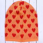 """Шапочка для девочки """"Сердце"""", размер 52-56 (6-8 лет), цвет оранжевый/красный 1704"""