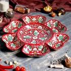 Салатница, набор из 7 штук, 42см (24см, 10х16см) красный