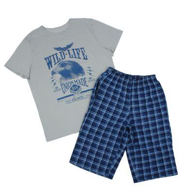 Комплект мужской (футболка, шорты), размер 46, цвет индиго (арт. 886/3)