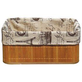 Бамбуковая корзинка с покрытием из натурального льна, каркас: стальной прут, 38х28х16 см