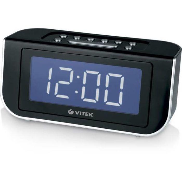 Радиобудильник Vitek VT-3521, FM, ДВ, СВ, КВ, питание от сети, черный