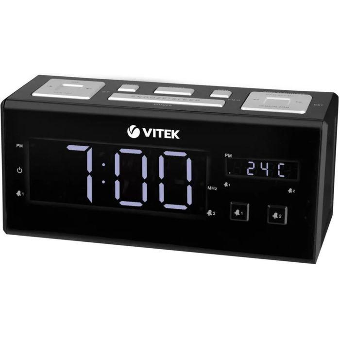 Радиобудильник Vitek VT-3523, FM, питание от сети, черный
