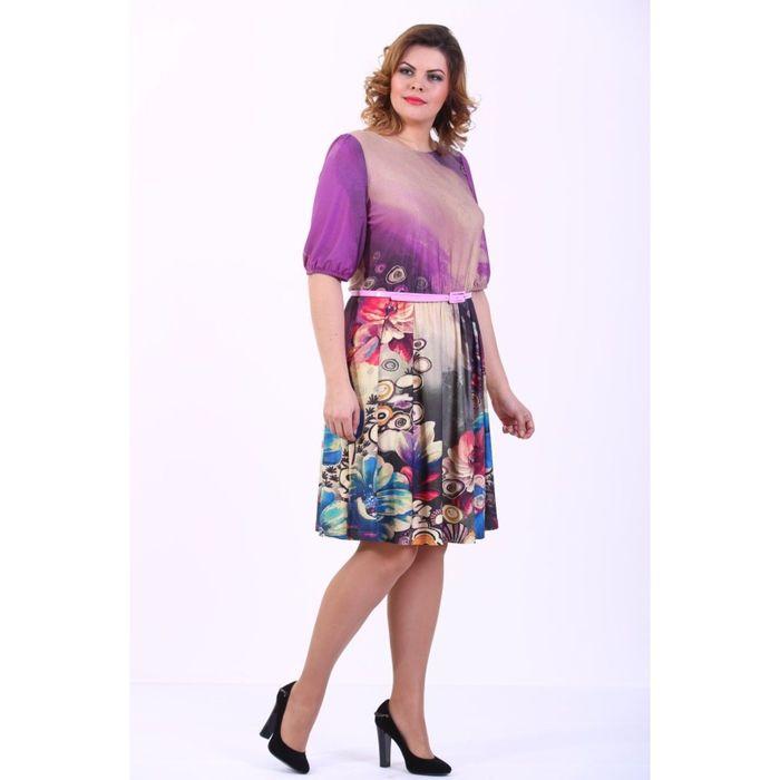Платье женское, размер 48, сиреневый принт 913Д1292