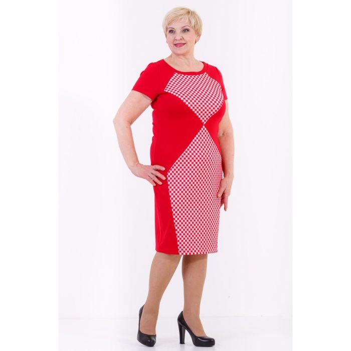 Платье женское, размер 50, цвет красный 432Д829