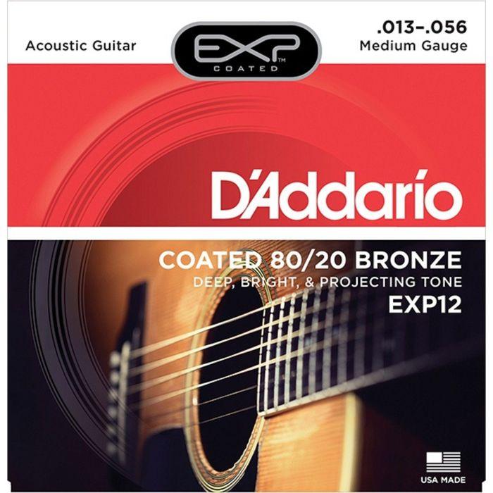 Струны для акустической гитары D`Addario EXP12 COATED 80/20 Medium 13-56