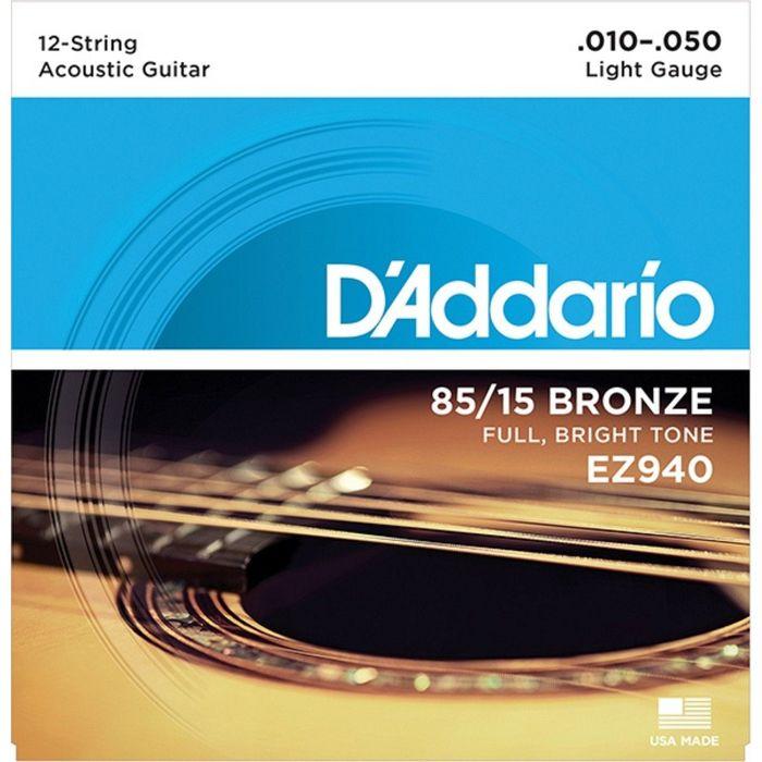 Струны для 12-струнной акустической гитары D`Addario EZ940 AMERICAN BRONZE 85/15 Light 10-50   23044