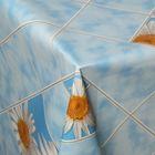 """Клеенка столовая на нетканой основе """"Ромашки в клетке"""", рулон 25 м, цвет голубой"""