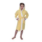 Халат махровый для девочки капюшон + комби/белыйт, цв. желтый, рост 104, хл100%