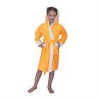 Халат махровый для девочки капюшон + комби/белый, цв. оранжевый, рост 98, хл100%