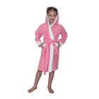Халат махровый для девочки капюшон + комби/белый, цв. розовый, рост 92, хл100%