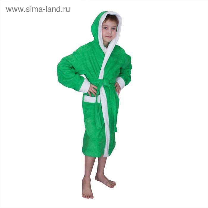 Халат махровый для мальчика капюшон + комби/белый, цв. зеленый, рост 140, хл100%