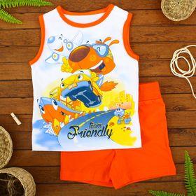 Комплект для мальчиков (майка, шорты), рост 80 см, цвет оранжевый/белый Н454_М