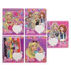 Тетрадь 12 листов клетка Barbie, обложка мелованный картон, полный УФ-лак, МИКС