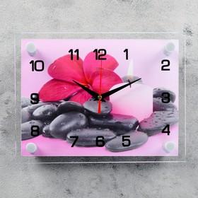 Часы настенные прямоугольные 'Цветок на камешках', 20х26 см Ош