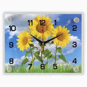 Часы настенные прямоугольные 'Три подсолнуха', 20х26 см Ош