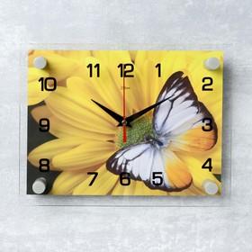 Часы настенные прямоугольные 'Бабочка на цветке', 20х26 см Ош