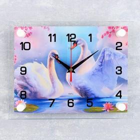 Часы настенные прямоугольные 'Пара лебедей', 20х26 см Ош