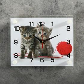 Часы настенные прямоугольные 'Котята с клубком', 20х26 см  микс Ош