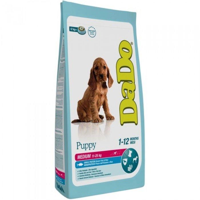 Сухой корм DaDo для щенков средних пород, с рыбой и рисом, 12 кг.