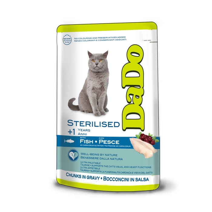 Паучи DaDo для стерилизованных кошек, с рыбой, 85 гр