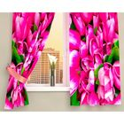 """Фотошторы кухонные """"Розовые тюльпаны"""", размер 145х160 см-2 шт, габардин 00256"""