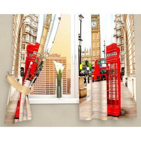 """Фотошторы кухонные """"Лондонские будки"""", размер 145х160 см-2 шт, габардин 150г/м2, арт. 01217"""