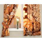 """Фотошторы кухонные """"Ароматный хлеб"""", размер 145х160 см-2 шт, габардин 01908"""