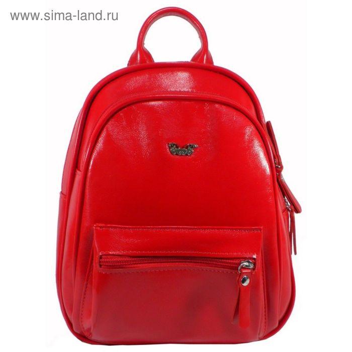 Портфель (рюкзак) женский ва441М-4316,21*12*25,отд на молнии, 2 н/кармана,красный