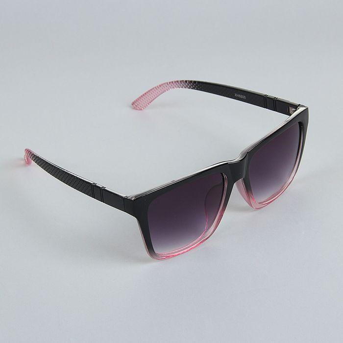 Очки солнцезащитные Square, оправа чёрно-розовая, дужки рифлёные, линзы чёрные